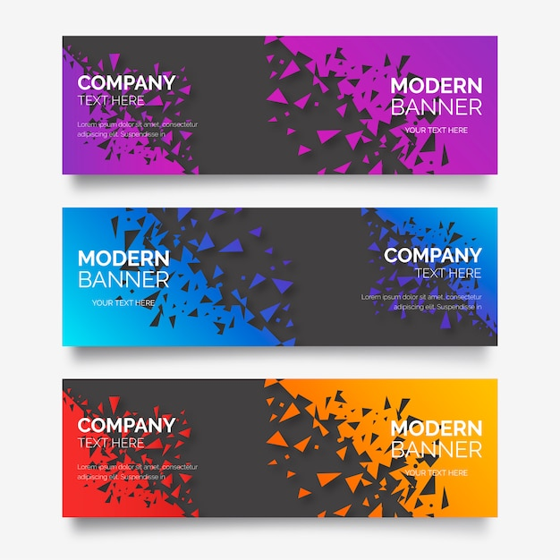 Modern banner collection with broken abstract shapes Free Vector