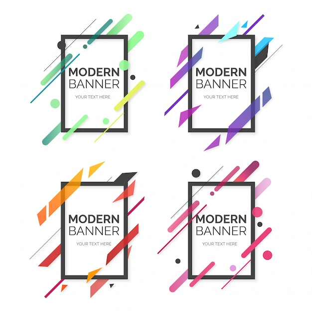 Modern banner professional collection Free Vector