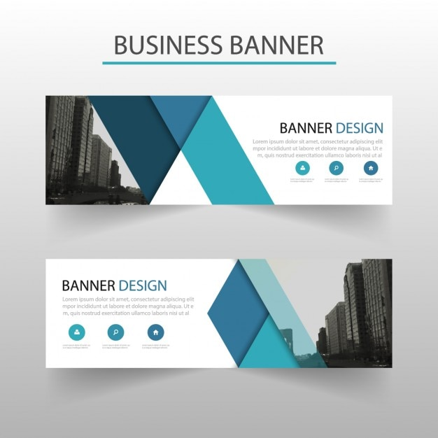 download vector modern banner with blue geometric shapes