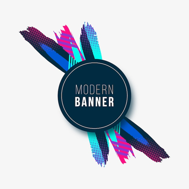 Modern banner with colorful strokes Free Vector