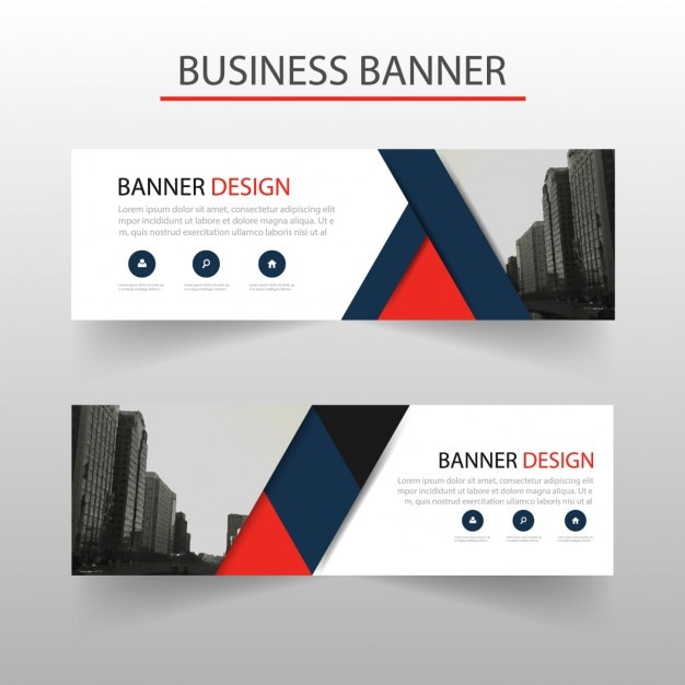modern banner with red and blue geometric shapes vector free download