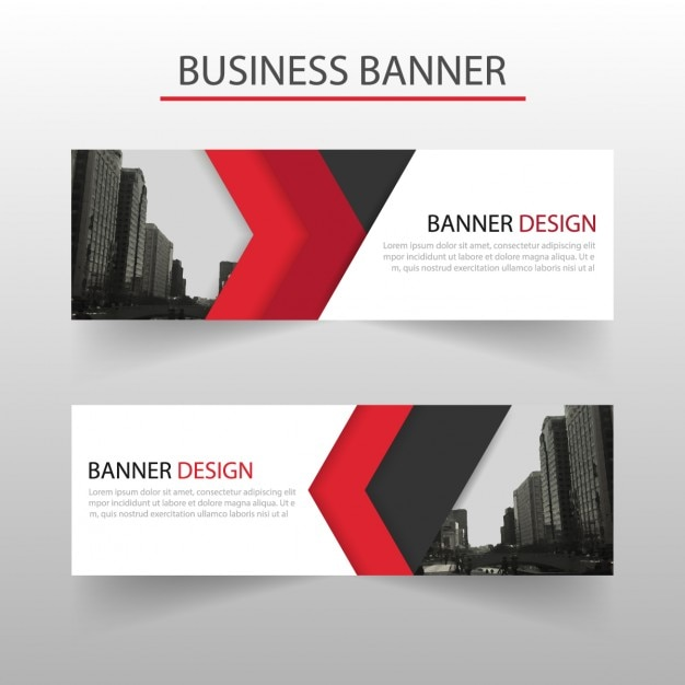 modern banner with red geometric shapes vector free download