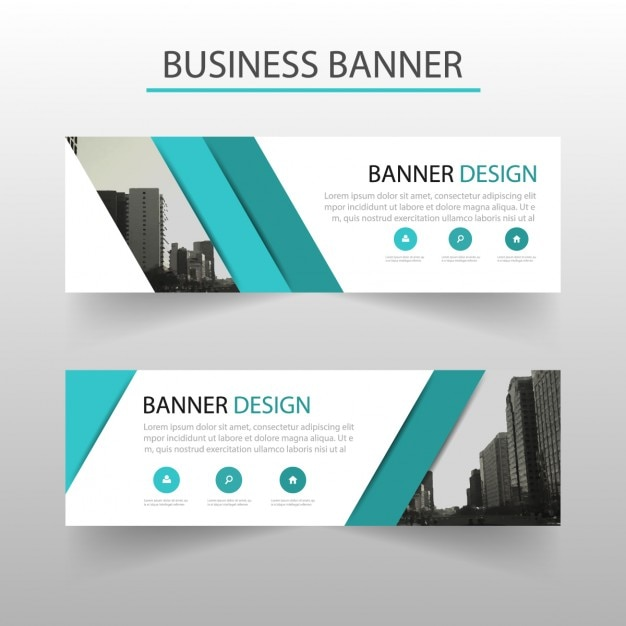 download vector modern banner with turquoise geometric shapes