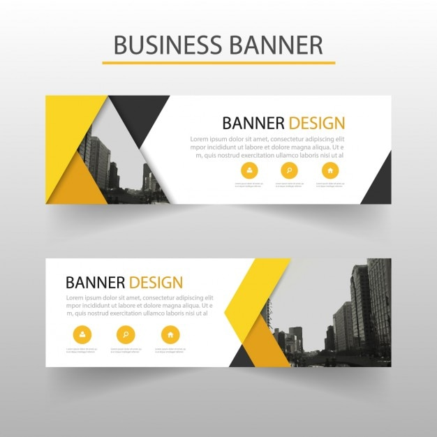 modern banner with yellow geometric shapes - Banner Design Ideas