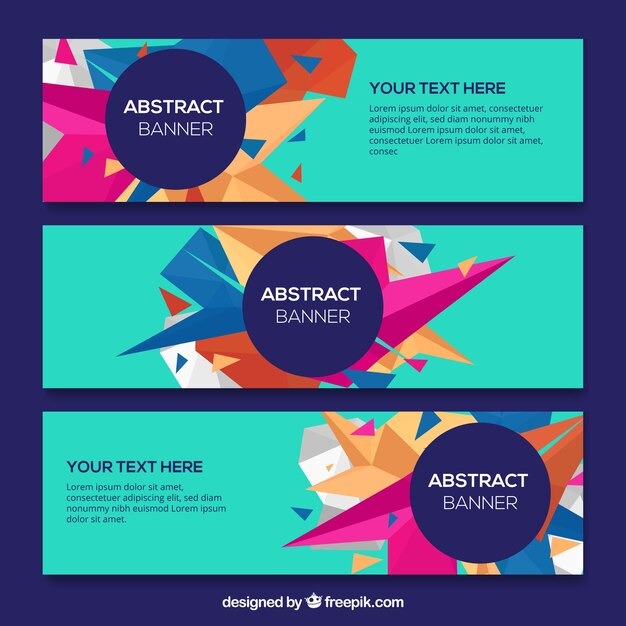 Modern banners of abstract shapes pack