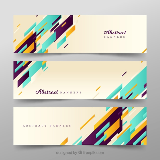 Modern banners of abstract shapes