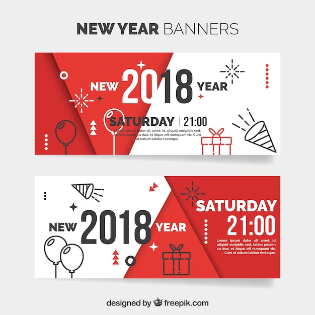 modern banners of new year 2018 free vector