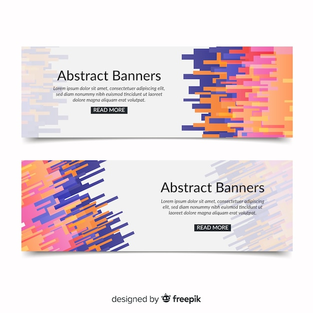 Modern Banners With Abstract Design Vector Free Download