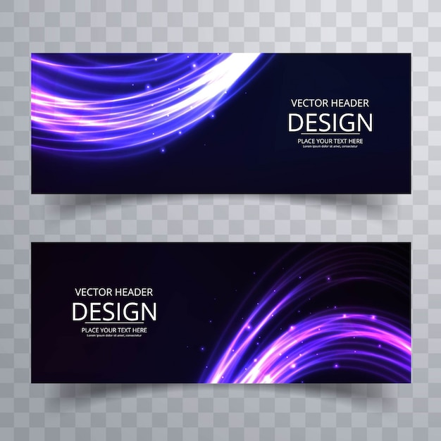 Modern banners with shiny forms