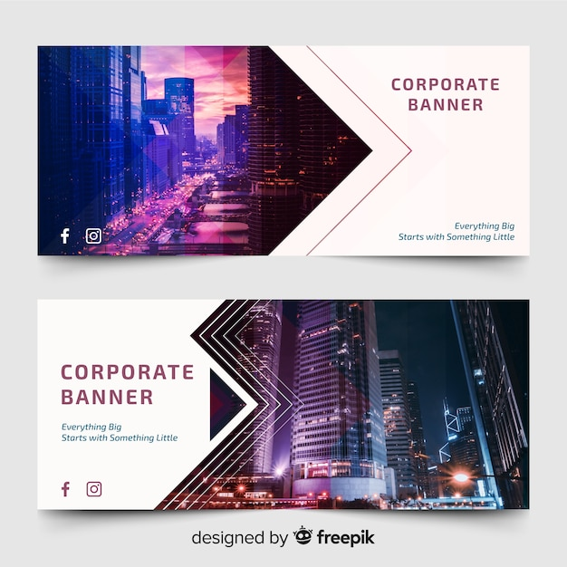Modern banners with skyline photo Free Vector
