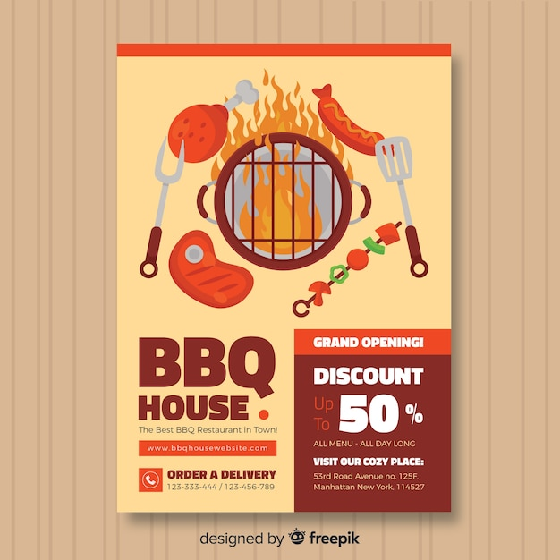Modern barbecue restaurant flyer template Free Vector
