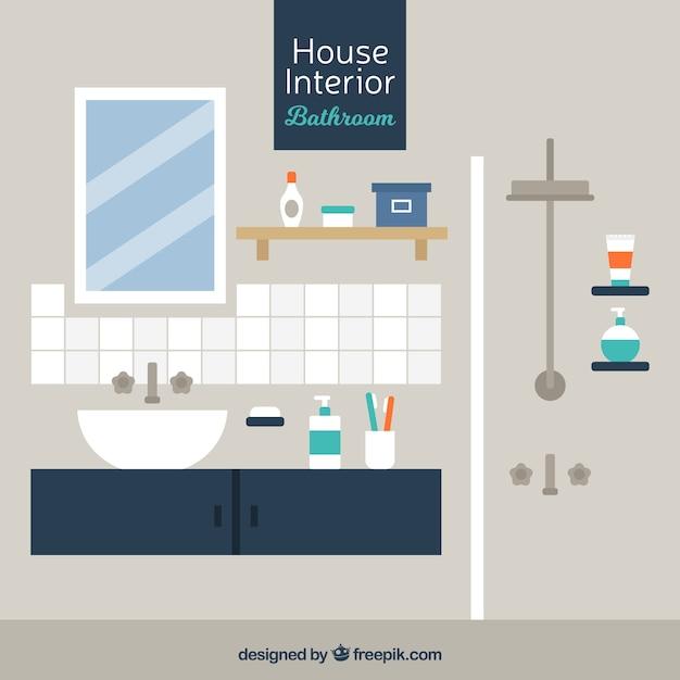 Modern Bathroom In Flat Design Vector Free Download