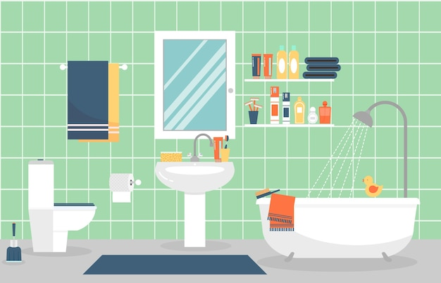 Modern bathroom interior with furniture in flat style. design modern bathroom, toothpaste and toothbrush, razor and lotion. Free Vector