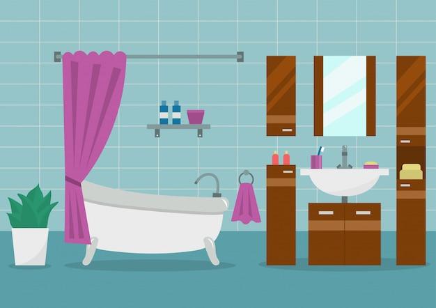 Modern bathroom interior with furniture. flat style vector illustration. Premium Vector