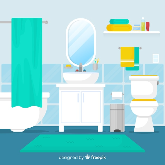 Modern Bathroom With Flat Design Vector
