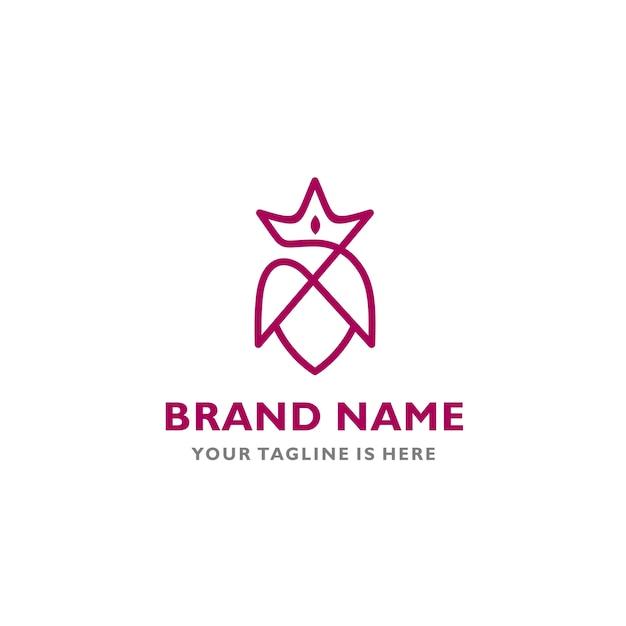 Modern Beauty Queen Symbol Vector Icon Logo Template Vector