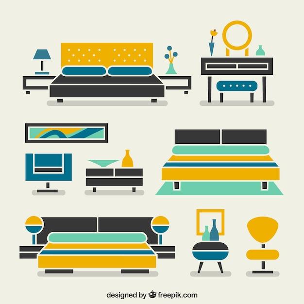 Modern Bedroom Furniture Vector