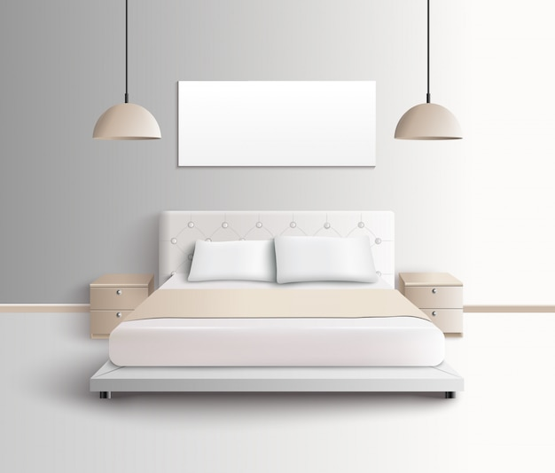Modern bedroom interior composition Free Vector