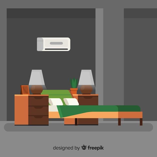 Modern bedroom interior with flat design Free Vector