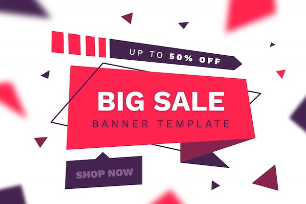 Modern big sale ribbon banner Free Vector