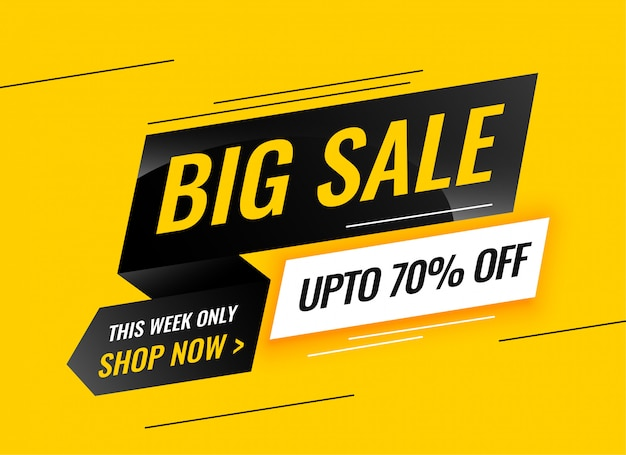 Modern big sale yellow banner design Free Vector