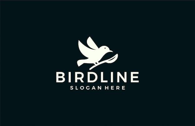 Современная птица силуэт логотипа Premium векторы