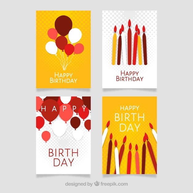Modern birthday card designs Vector | Free Download