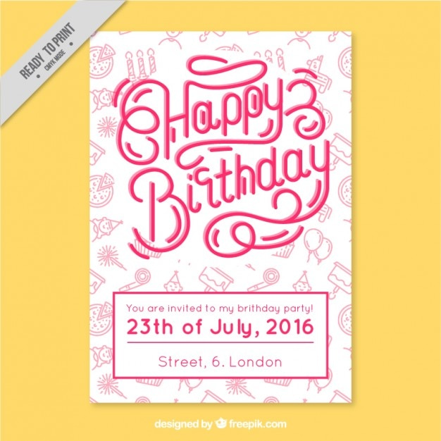Modern Birthday Card With Drawings Vector Premium Download