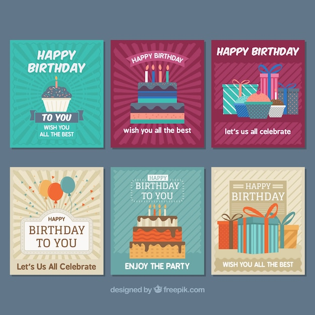 Modern Birthday Cards Collection Vector Free Download