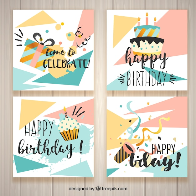 Modern Birthday Cards Vector Free Download