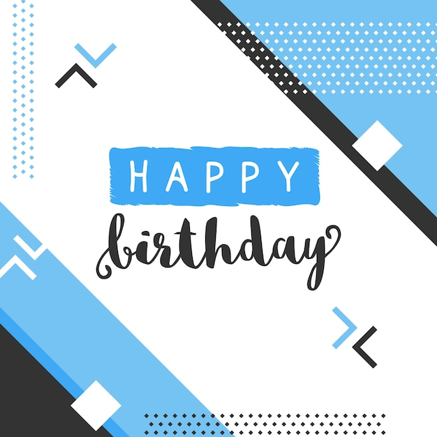 Modern birthday design in memphis style Free Vector