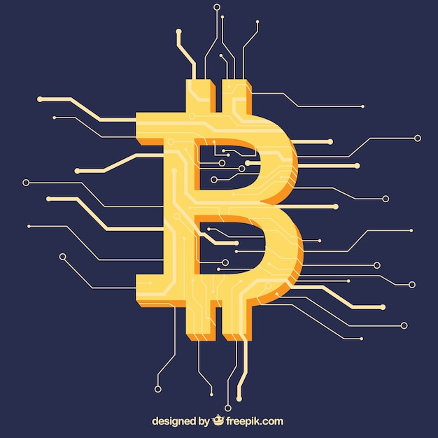 Modern bitcoin background Free Vector