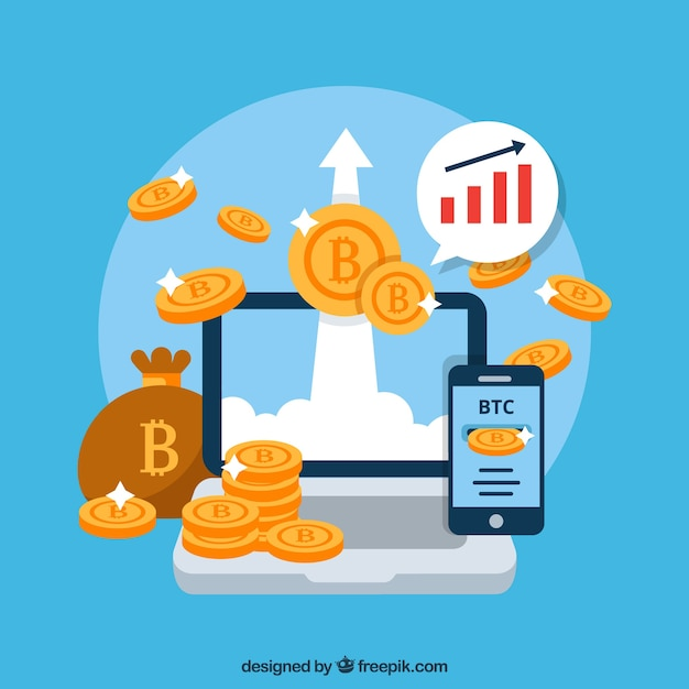 Modern bitcoin design Free Vector