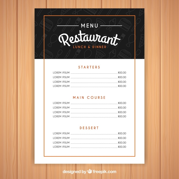 modern black and white menu template vector free download