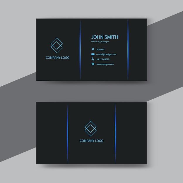 Modern black and blue business card design. Premium Vector
