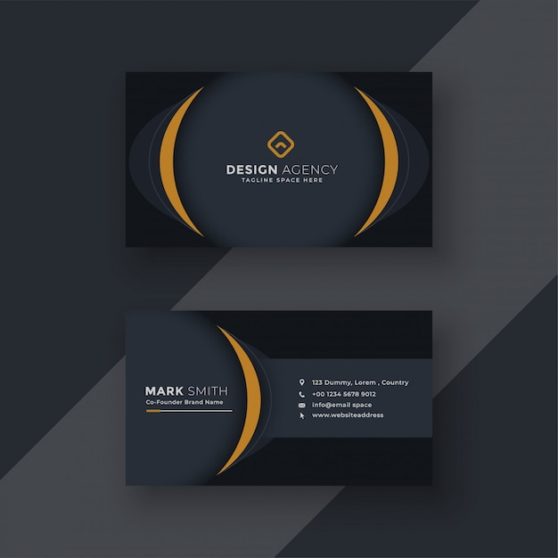 Modern black business card design Free Vector
