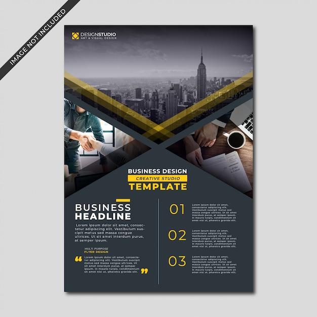 Modern black color business flyer template Premium Vector