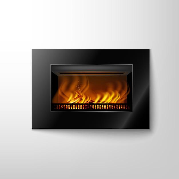 Современный черный электронный камин на стене с пылающим огнем для дизайна интерьера в стиле хайтек Premium векторы
