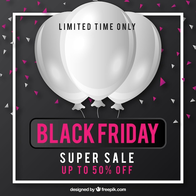 Modern black friday background with balloons