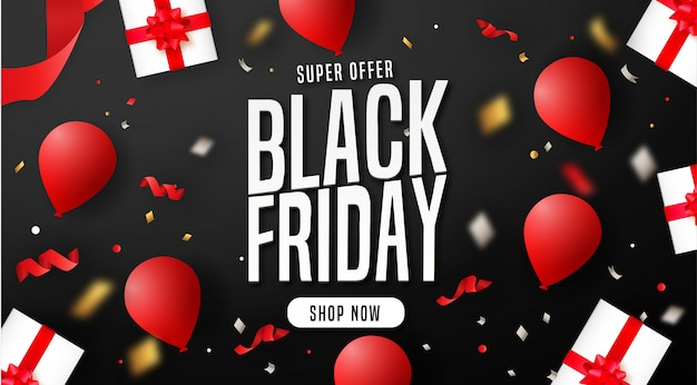 Modern black friday background with elements Free Vector