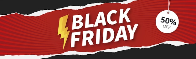 Modern black friday banner sale with papercut design Free Vector
