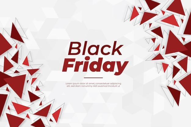 抽象的な赤い幾何学図形とモダンなブラックフライデーバナー 無料ベクター