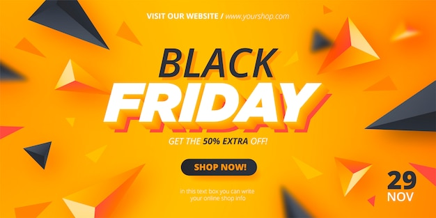 Modern black friday banner with abstract shapes Free Vector