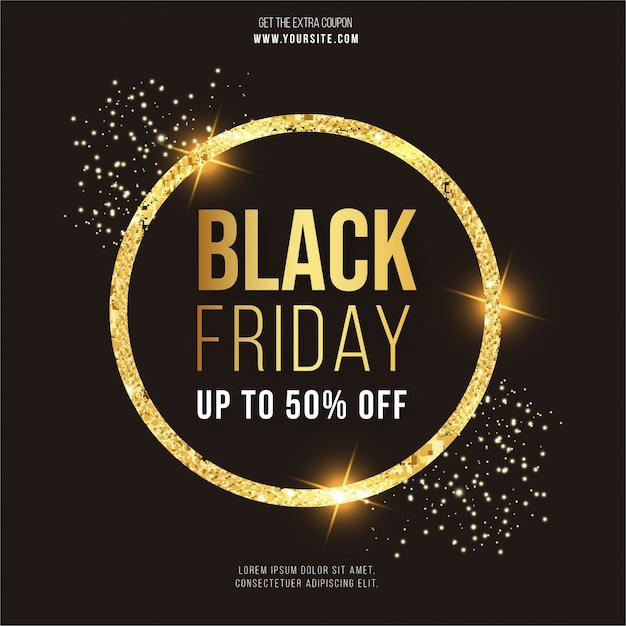 Modern black friday banner with gold frame Free Vector