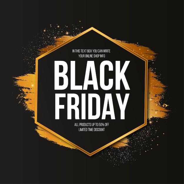 Banner moderno venerdì nero con tratto di pennello dorato Vettore gratuito