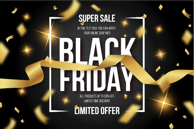 Modern black friday banner with golden confetti Free Vector