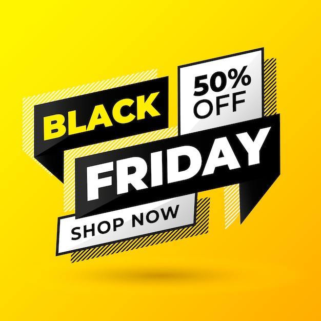 Modern black friday banner with yellow background Free Vector