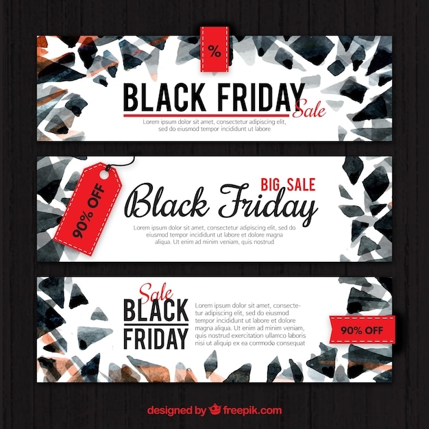 Modern black friday banners of watercolor abstract shapes