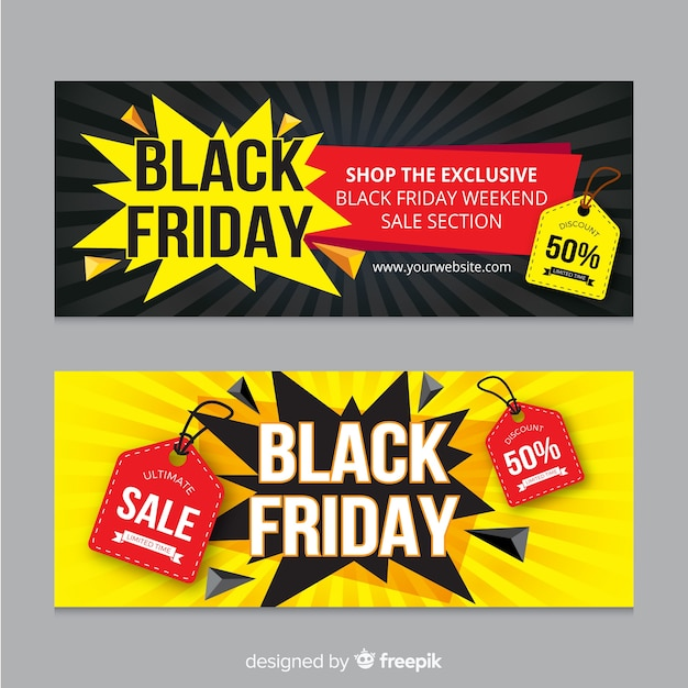 Modern black friday banners with flat design Free Vector