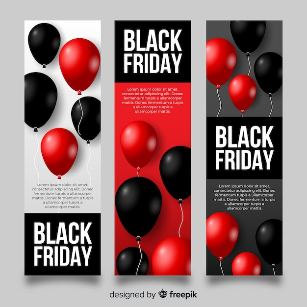 Modern black friday banners with realistic balloons Free Vector